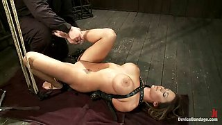 big titty whore tied up in bondage scene