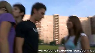 Two teen couples go home for some hot foursome blowing and