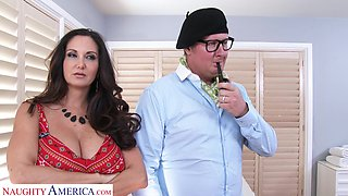 Fucking on the bed with large boobs housewife Ava Addams. HD