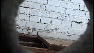 White blondie in the shabby toilet room getting filmed on spycam