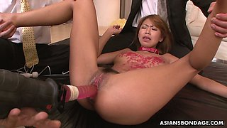 Japanese hoe with ball gag in her mouth Miku Natsukawa gets pussy toyed