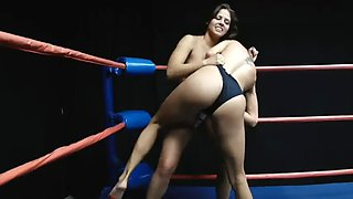 Wedgie wrestling (in bikini): cali logan vs celeste star