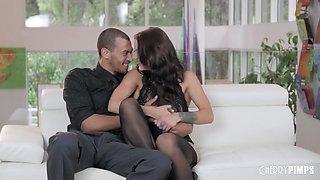 Hot brunette in erotic, black stockings, Evelin Stone got her pussy ravaged in the late afternoon