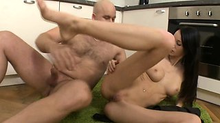 Ambitious brunette Martina B gets shaved cooter fucked