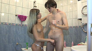 Dongs get jerked by exquisite blonde girl Gina Gerson