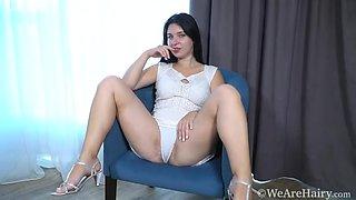 Tanita masturbates on her blue armchair - WeAreHairy