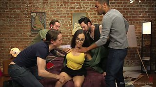 Shy brunette in glasses Roxanne Rae is fucked by several kinky dudes