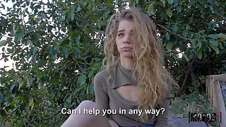 Picked up curly babe fucks missionary after sucking cock of Jordi El Nino Polla