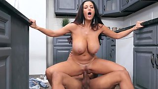 Lustful raven haired MILF gets a fine chocolate pecker