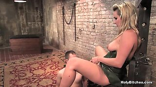 Blonde mistress tied up her cocked slave