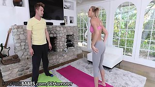 FootsieBabes Feet Get Jizzed in Yoga Class