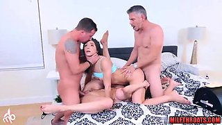 Brunette milf foursome and cum in mouth