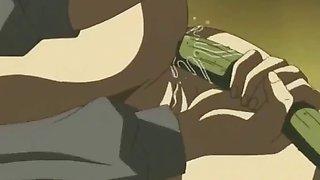 Hentai babe masturbates with cucumber